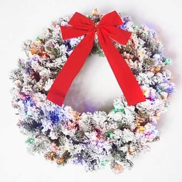 """26"""" Flocked Overlit Wreath with Bow"""